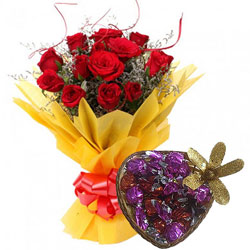 Pretty Bouquet of Red Roses with Heart-Shape Handmade Chocolate