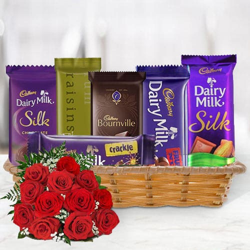 Online Gift Hamper of Cadbury Chocolates with Red Roses