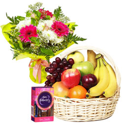 Bountiful Gift Combo of Fruits Basket, Chocolates and Flowers Bouquet