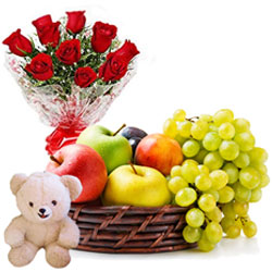 Carefully-Selected Fruits Basket with Radiant Red Roses Arrangement and Sweet Teddy
