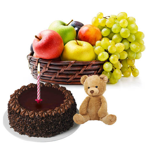Online Gift Selection of Cute Teddy with Candles, Fruits Basket and Chocolate Cake