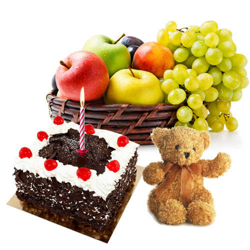 Classic Present of Black Forest Cake and Teddy with Candle and Basket of Fresh Fruits