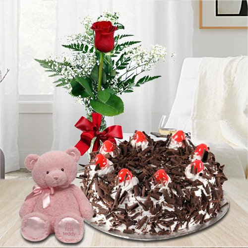Red Rose with Black Forest N Teddy
