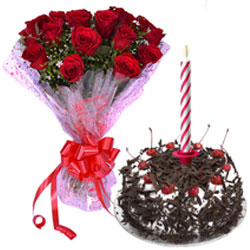 Beautiful Mid-night Present of Roses Bouquet with Yummy Black Forest Cake and Candles