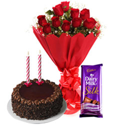 Midnight Delivery of Roses Bouquet with Cadbury Dairy Milk Silk, Chocolate Cake and Candles