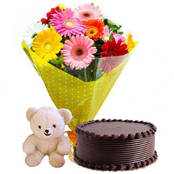 Midnight Gift of Fragrant Gerberas Bouquet with Small Teddy and Yummy Chocolate Cake