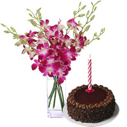 Decorative Combo of Candles with Orchids in a Vase and Chocolate Cake for Midnight Delivery