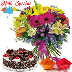 Seasonal Flowers gift pack with mouth-watering Black Forest Cake