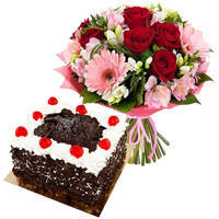 Deliver Online Mixed Flowers Bouquet with Black Forest Cake