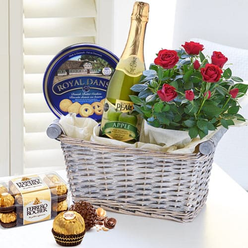 Luxurious Combo of Gourmet N Flowers in a Basket