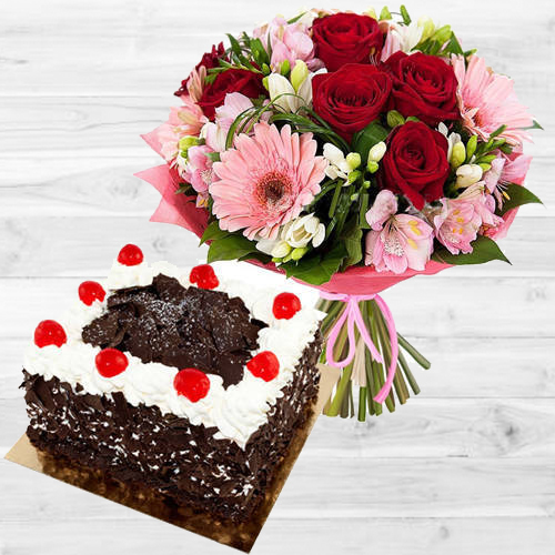Colorful Flowers N Black Forest Cake