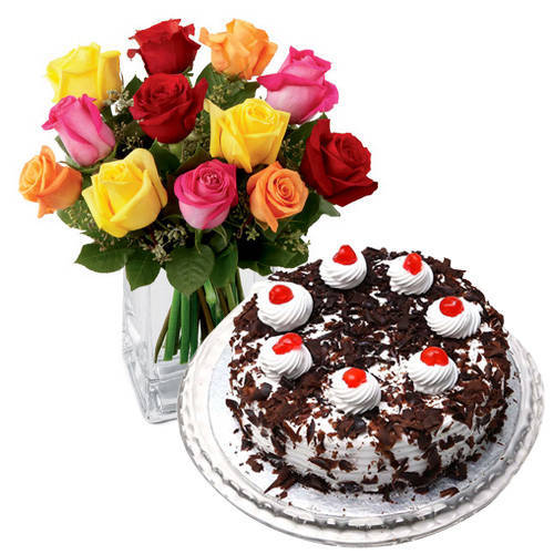 Assorted Roses N Black Forest Cake