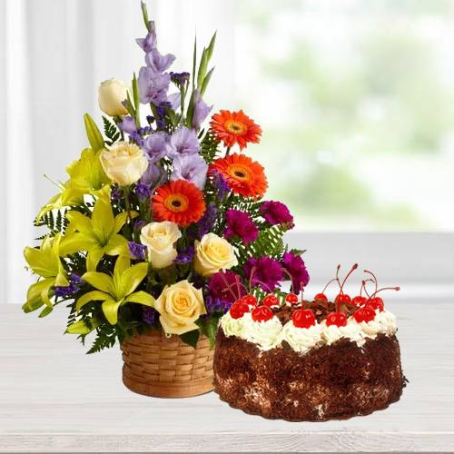 Charming seasonal mixed Flowers and yummy Black Forest Cake delight