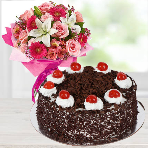 Mixed Flowers N Black Forest Cake Combo