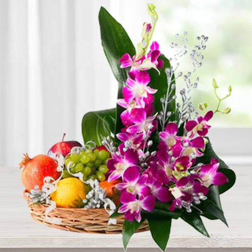 Flowers N Assorted Fruits Gift Basket