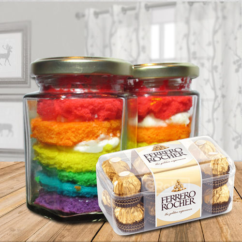 Irresistible Rainbow Jar Cake with Ferrero Rocher