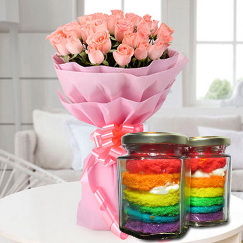Irresistible Rainbow Jar Cakes with Pink Roses