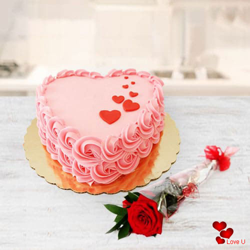 Irresistible Love Cake n Red Rose