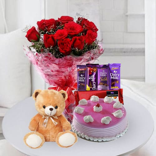 Special Birthday Cake Chocolates n Flowers Gift