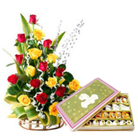 Colorful Roses and Palatable Mixed Sweets