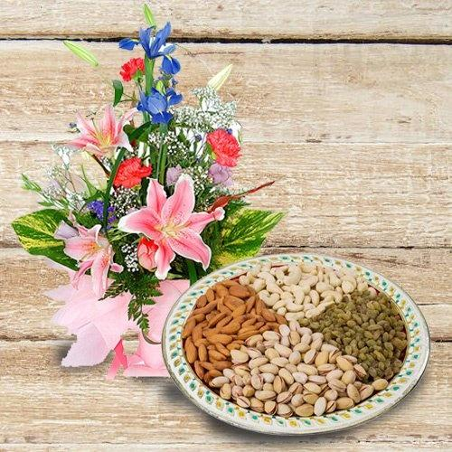 Delicious Dry fruits with Flowers Bouquet of Love