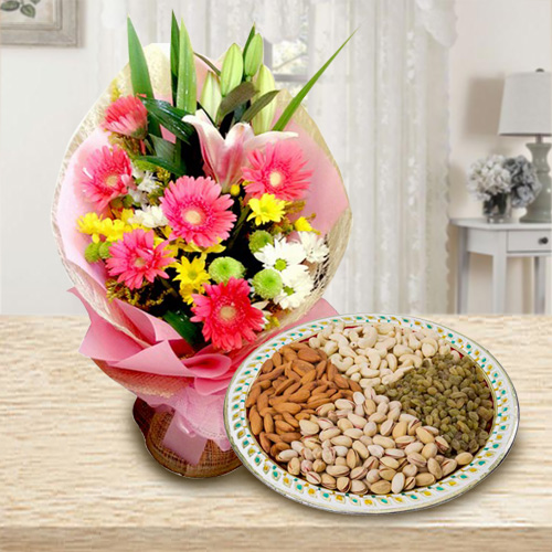 Mixed Florals N Assorted Dry Fruits