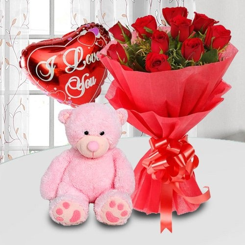 Cudly Teddy Bear, Balloon and Roses with Warm Love