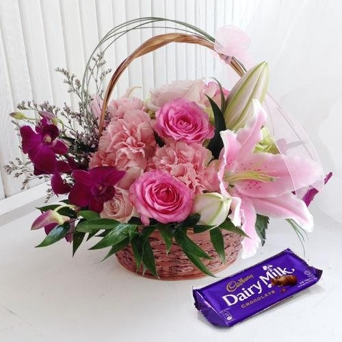Classic Arrangement of Flowers with a Cadburys Chocolate Box for Mom