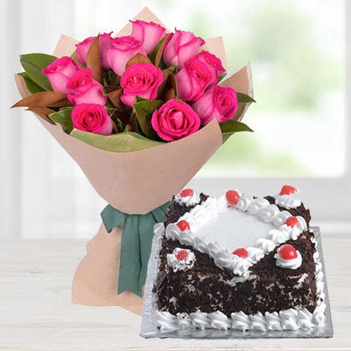 Combo of Pink Roses with Black Forest Cake
