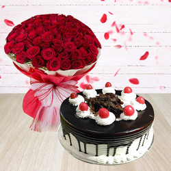 Admirable Red Roses with adorable Black Forest Cake