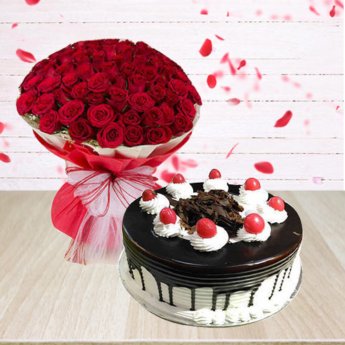 Black Forest Cake N Red Roses Arrangement