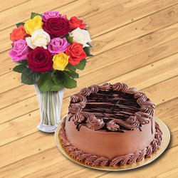 Buy Online Mixed Roses in a Glass Vase with Chocolate Cake