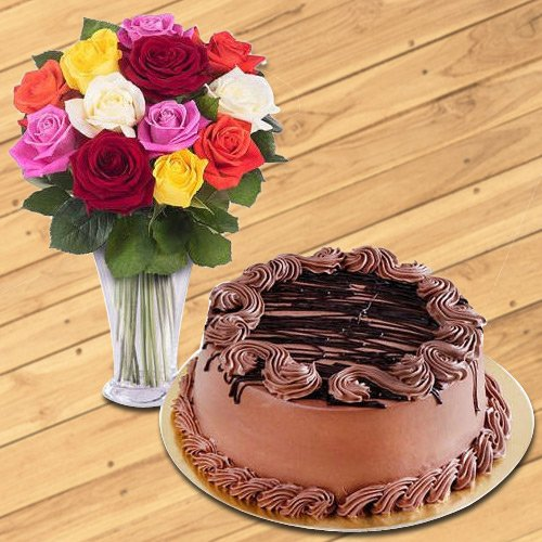 Choco Cake with Mixed Roses Arrangement