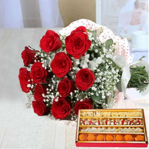 Red Roses with Sweets Combo