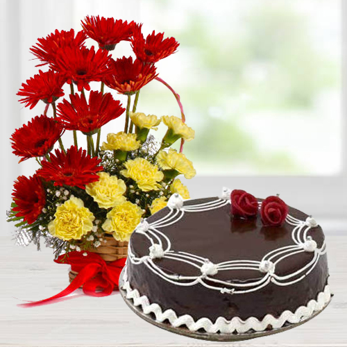 Gerberas N Carnations Basket Arrangement with Chocolate Cake
