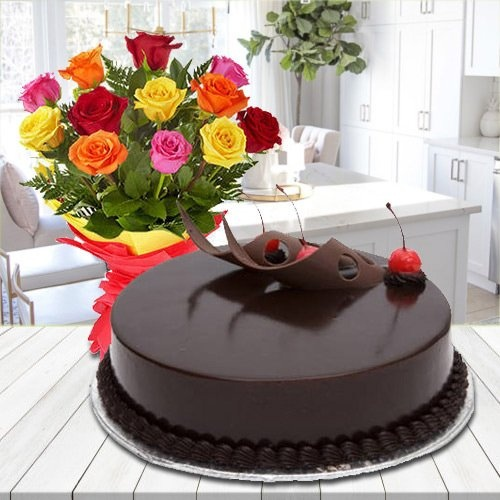 Charming colorful  Roses blended with luscious Chocolate Cake