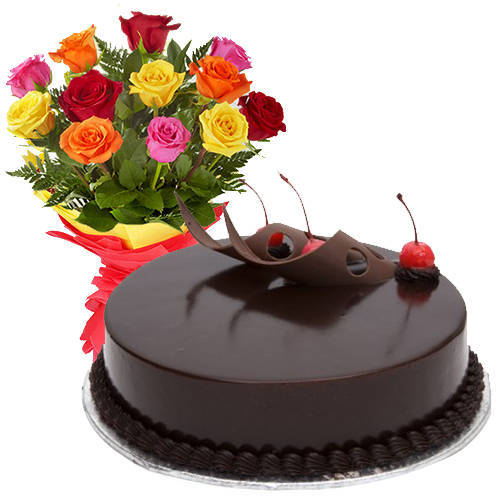 Assorted Roses N Chocolate Cake Online Combo
