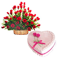Attractive 50 Red Roses combined with yummy 2 Lbs Love Cake