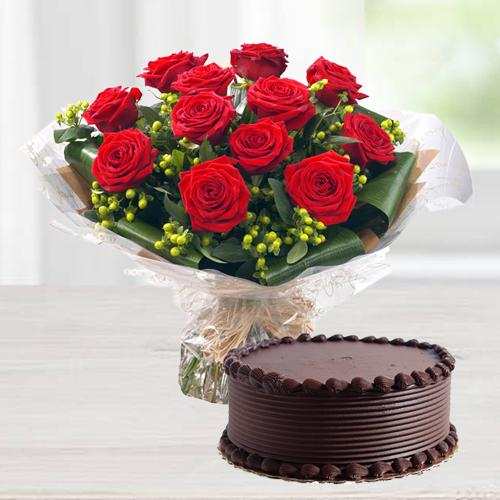 Charming 12 Red Roses with delicious Chocolate Cake