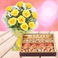 Yellow Roses with Assorted Sweets