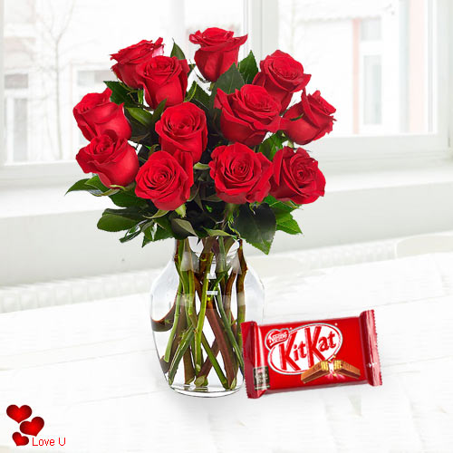 Superb Dutch Red Roses with free Cadburys Chocolate