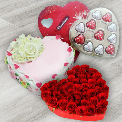 Red Roses Arrangement with Heart Shaped Chocolate Box N Heart Shaped Cake