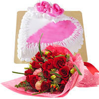 Deliver Combo of Red Roses Bouquet N Heart Shaped Cake Online