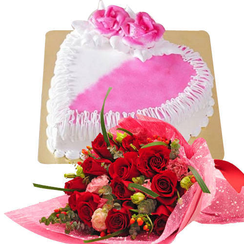 Dutch Roses Bouquet with Heart Shaped Cake