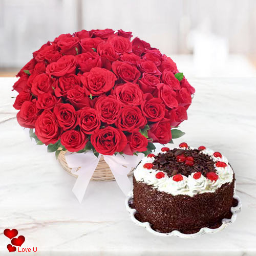 Outstanding 50 Dutch Red Roses with Delicious Taj / 5 Star Bakery Cake