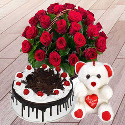Online Deliver Red Roses Basket with Black Forest Cake N a Teddy