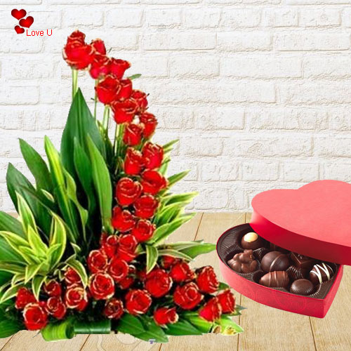 51 Awesome Dutch Red Roses with Lip-smacking Chocolates