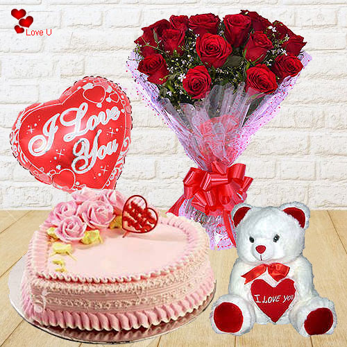 Captivating Gift of 12 Red Roses with Teddy, Love Cake and Balloons