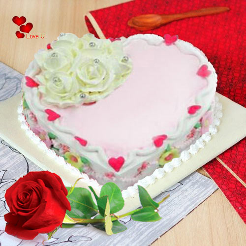 Enticing Love Cake with Red Rose