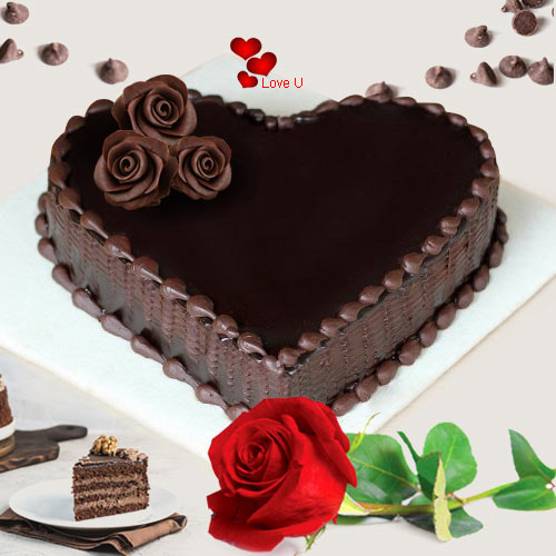 Enticing Love Shape Chocolate  Cake with Red Rose
